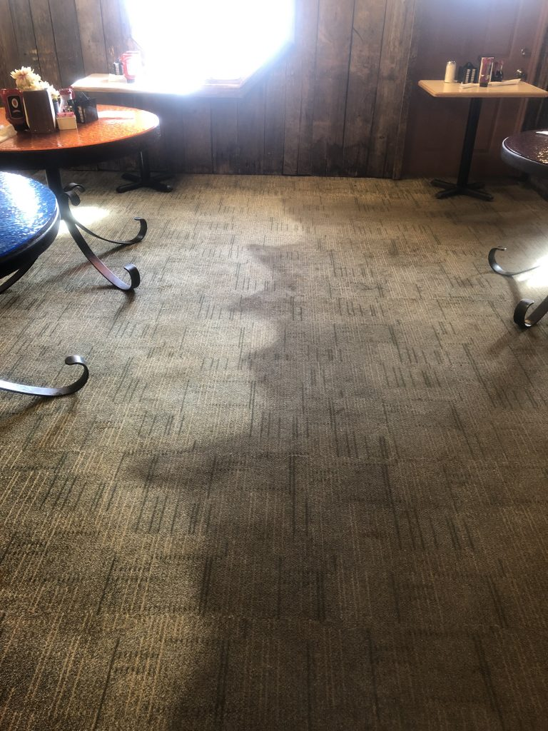 Cleaning a customer's carpets with a huge difference